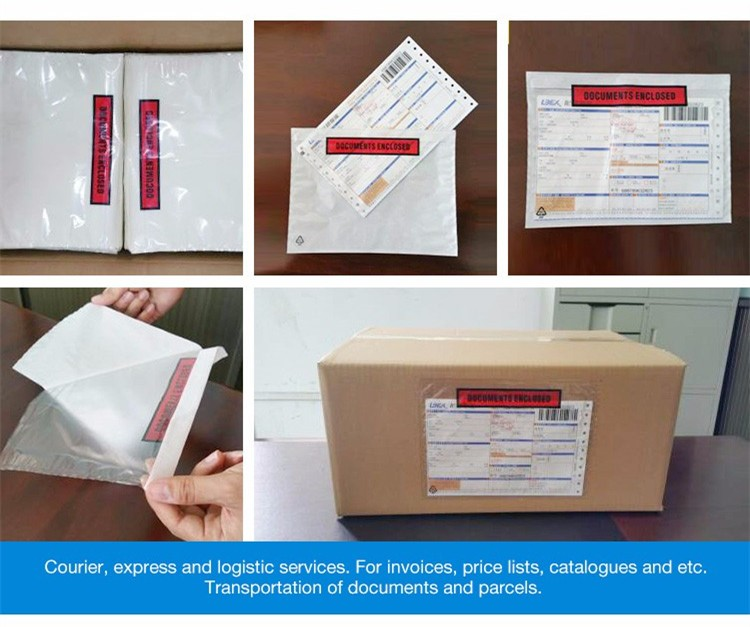 Custom tamper proof express use plastic packing list envelopes