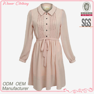 High Fashion Long Sleeve Peter Pan Collar Pink Model Dresses for Girls