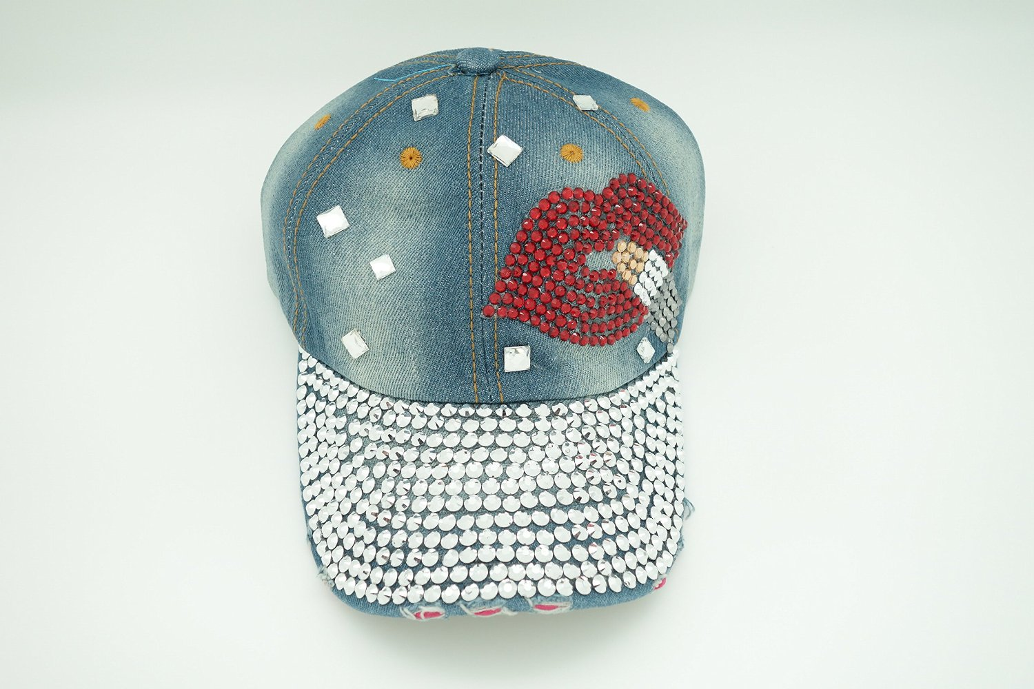 Lady Cap with Denim Jean material with Bling, Ajustable