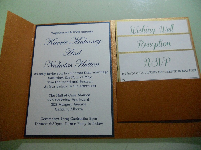 Wedding Invitations With Response Cards And Envelopes: Brown Pearl Paper Pocket Fold Wedding Invitations With