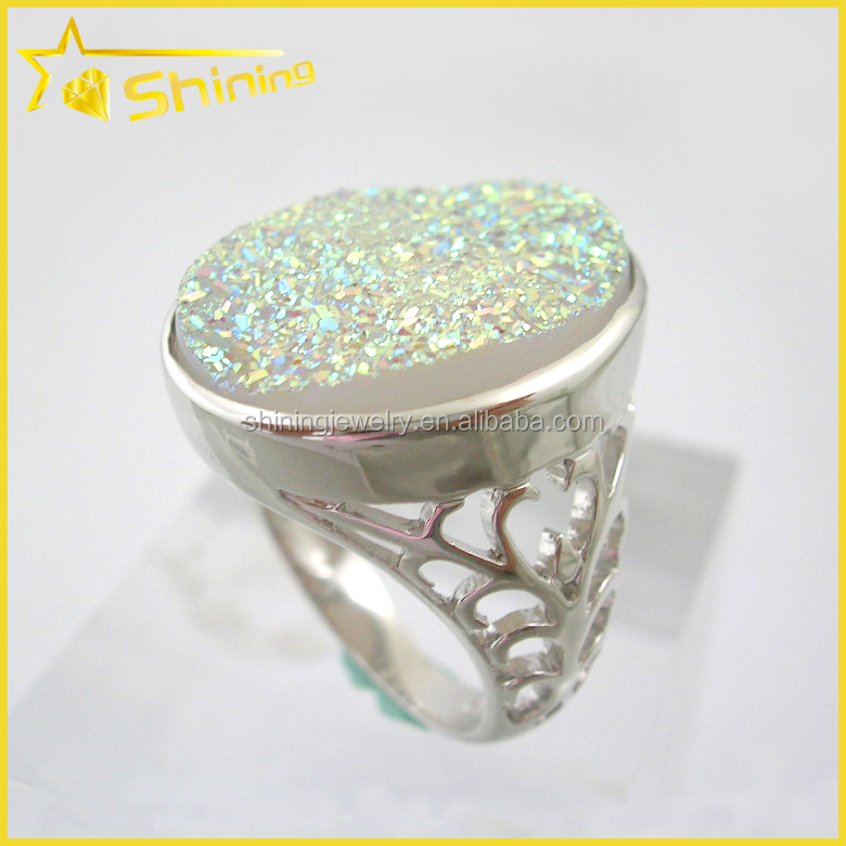 Quality wholesale women's druzy jewelry for sale opal druzy rings for sale