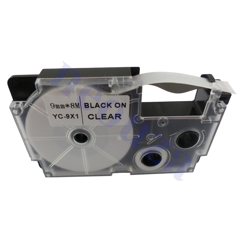 Compatible for Casio EZ-Label Tape 9mm Black on Clear XR-9X1 8m LABEL IT!