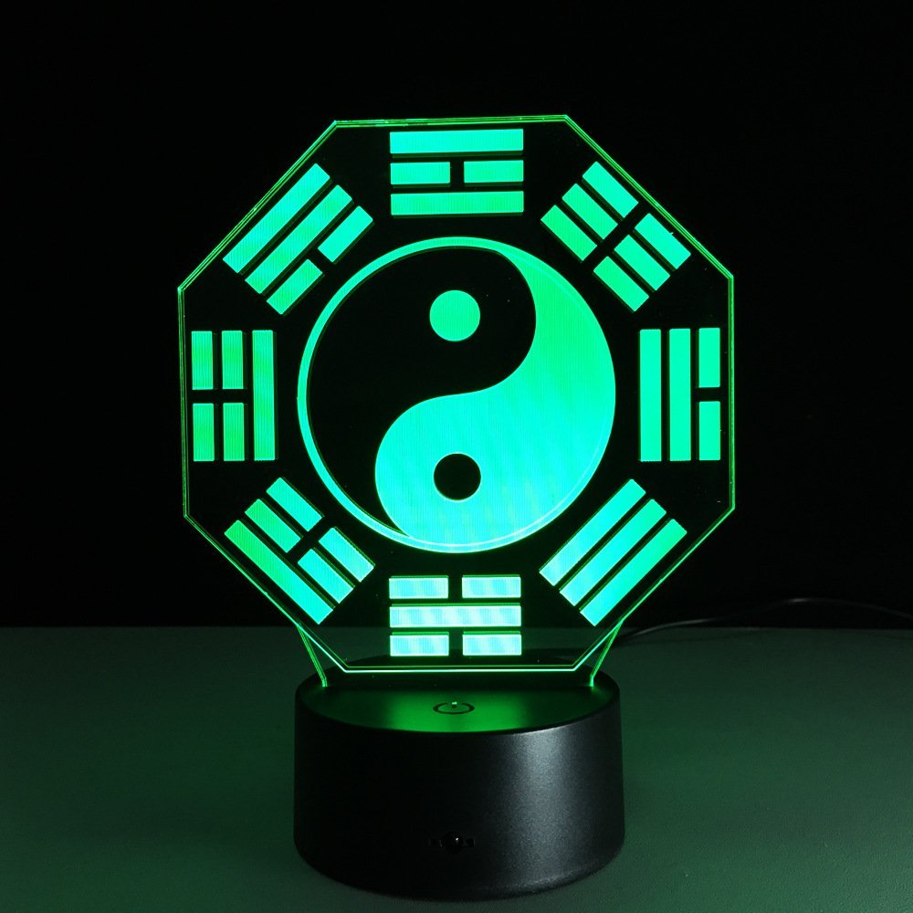 Circle Circle Chinese Bagua Taiji Diagram Shape 3D Optical Illusion Table Lamp 7 Colors Change Touch Button and 15 Keys Remote Control LED Light Decor