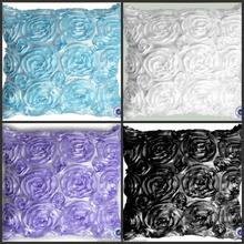Best Selling Satin Ribbon Stylish Cushion Covers 3D Rosette Home Decor Pillow Covers Rosette Embroidered Cushion Cover Wholesale