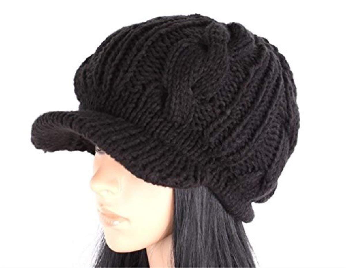0a4a57c4ac34b Get Quotations · JOVANA Women Slouchy Cabled Knit Beanie Crochet Hat Brim  Newsboy Cap (Black)