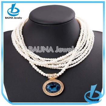 Hot sale gold alloy blue sapphire pendant necklacelarge pearl chain hot sale gold alloy blue sapphire pendant necklace large pearl chain necklace designs bridal mozeypictures Images