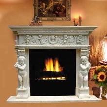 White marble stone fireplace surrounds for home decoration