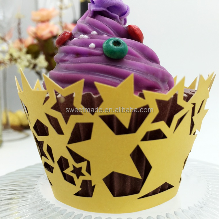 Sweetmade Laser Cut Stars Shape Cupcake Wrappers Paper Cupcake Wraps for Party