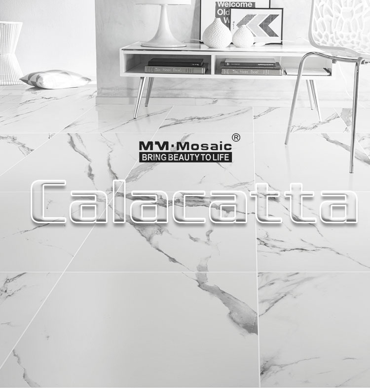 Foshan Wholesale 300x300 600x600 Calacatta white chinese style selections glazed porcelain tile floor