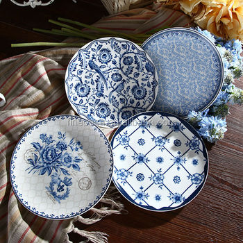 8 Inches New Bone China Western Style Dinner Plate set of Blue Dream & 8 Inches New Bone China Western Style Dinner Plate Set Of Blue Dream ...