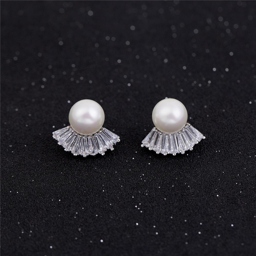 Simple Rhodium Gold Pearl Earring Designs For Women Fashion New Model Earrings