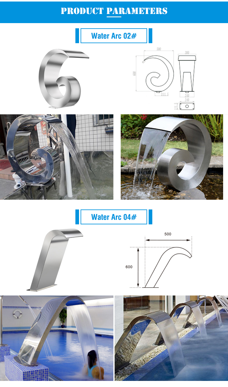 Professional Wholesale Different Design Stainless Steel 304 Portable Swimming Pools Water Curtain