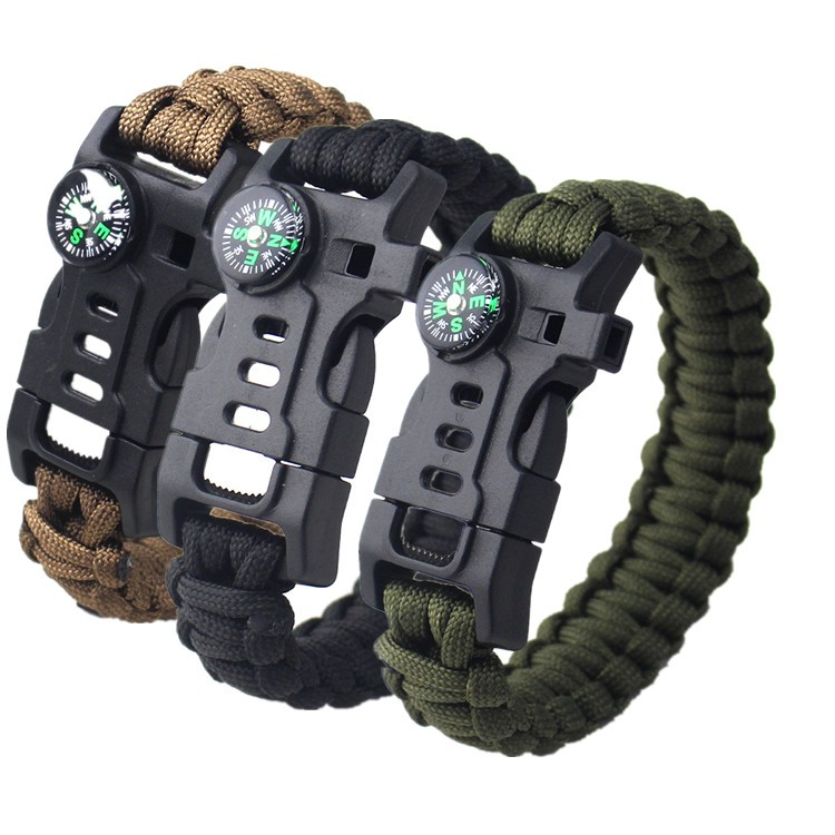 핫 wholesale 생존 tactical 휘슬 compass (kindle fire starter 550 paracord bracelet 와 부싯돌