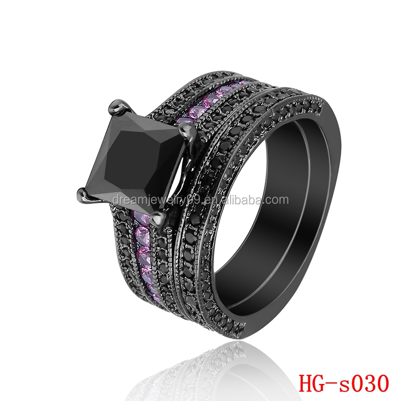 Newest Design Fancy Black and Pink Stone Couple Rings Elegant Wedding Ring Sets
