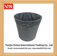 Tapered round woven grey paper rope waste basket with grey liner