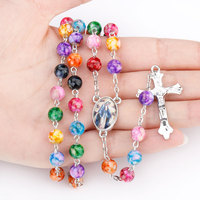 N0807 New design multicolored Acrylic Pearl Beads Necklace INRI Cross Necklace Rosary pray necklace