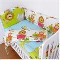 Promotion 6PCS Lion Cotton Baby Nursery Comforter Cot Crib Bedding Set bumpers sheet pillow cover