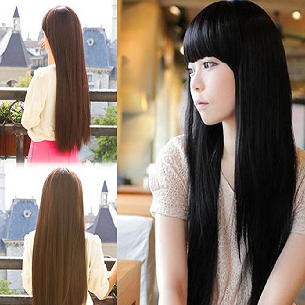 Новые приходят женщины девушка красивая аккуратные взрыва длинные прямые волосы парик для косплея костюм ну вечеринку