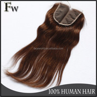 100 human hair extension raw unprocessed indian hair lace closure 4x4 size light brown color wholesale virgin indian hair