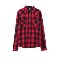 Grid Printed Ladies Best Casual Button Up High Quality Womens Closeout Clothing