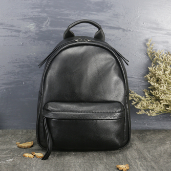 Factory Direct School Backpack College Bags Handmade Genuine Leather Simple  Back Pack Black Bags cf5157767a28
