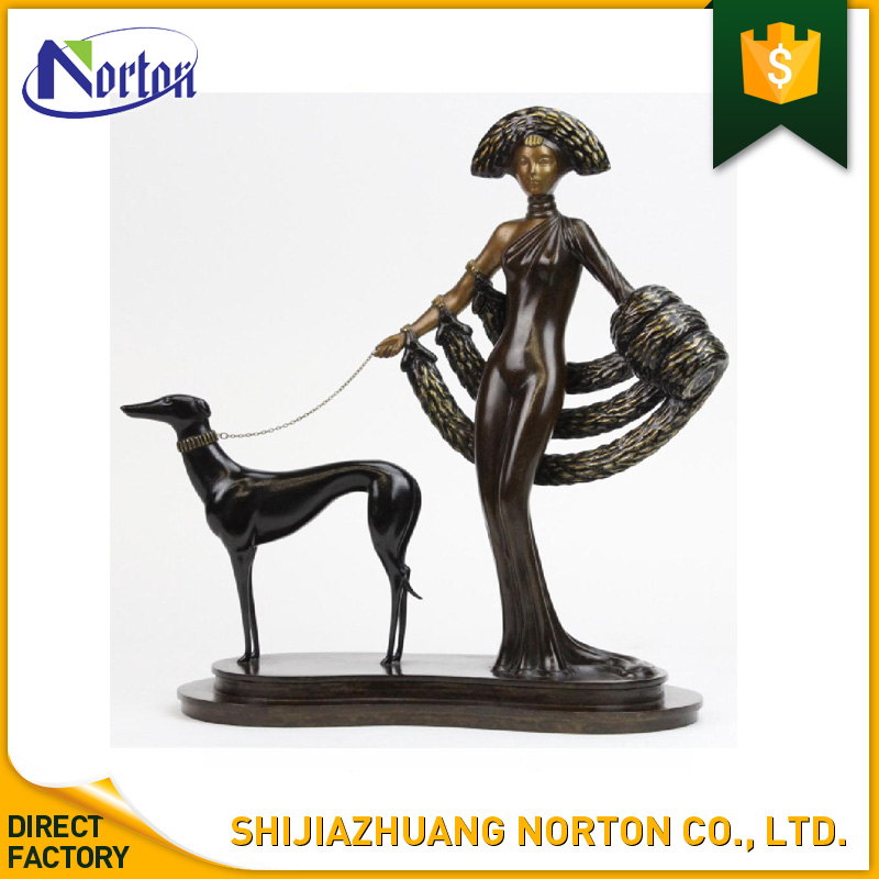custom life size bronze lady and dog sculpture NT--BS021J