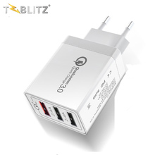 Qc 3.0 Met 3 Poorten Quick Charger Adapter Voor Iphone Xiaomi Samsung Eu Ons <span class=keywords><strong>Uk</strong></span> Plug Usb Wall Charger