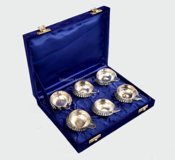 silver diya set metal diya set traditional diwali india gifts diya