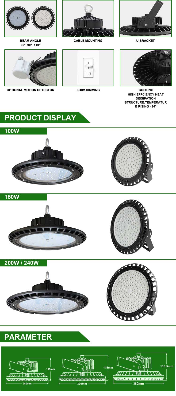 Emergency 90 minutes 100w 150w 200w led ufo high bay light with IP65