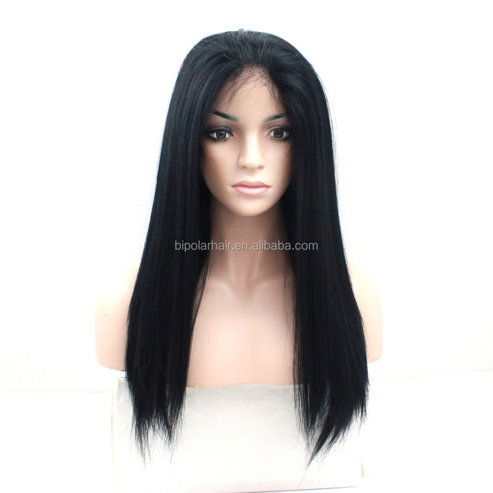 4x4 Yaki Straight Silk Base Wig Italian Yaki Virgin Brazilian Silk Top Lace Front Wig Glueless Full Lace Human Hair Wigs