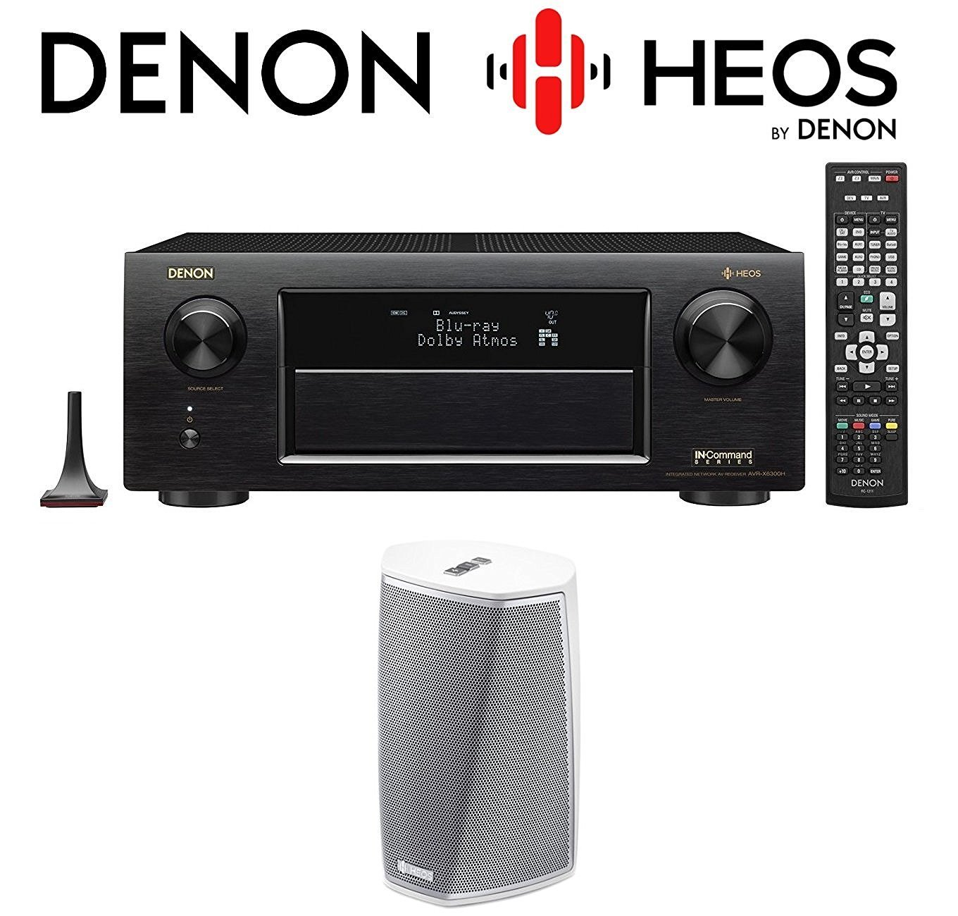 Get Quotations · Denon Receiver Audio & Video Component Receiver,Black  (AVRX6300H) + Denon HEOS 1