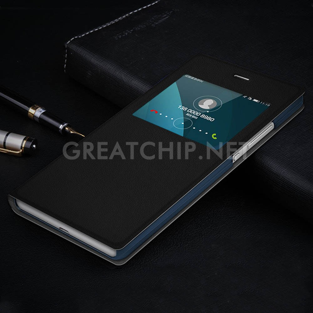 High quality PU leather slim flip cover case for Huawei V8