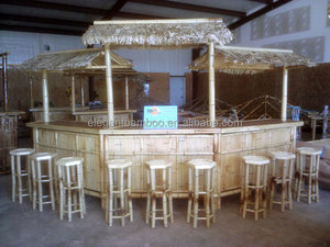 bamboo tiki bar with curved arc