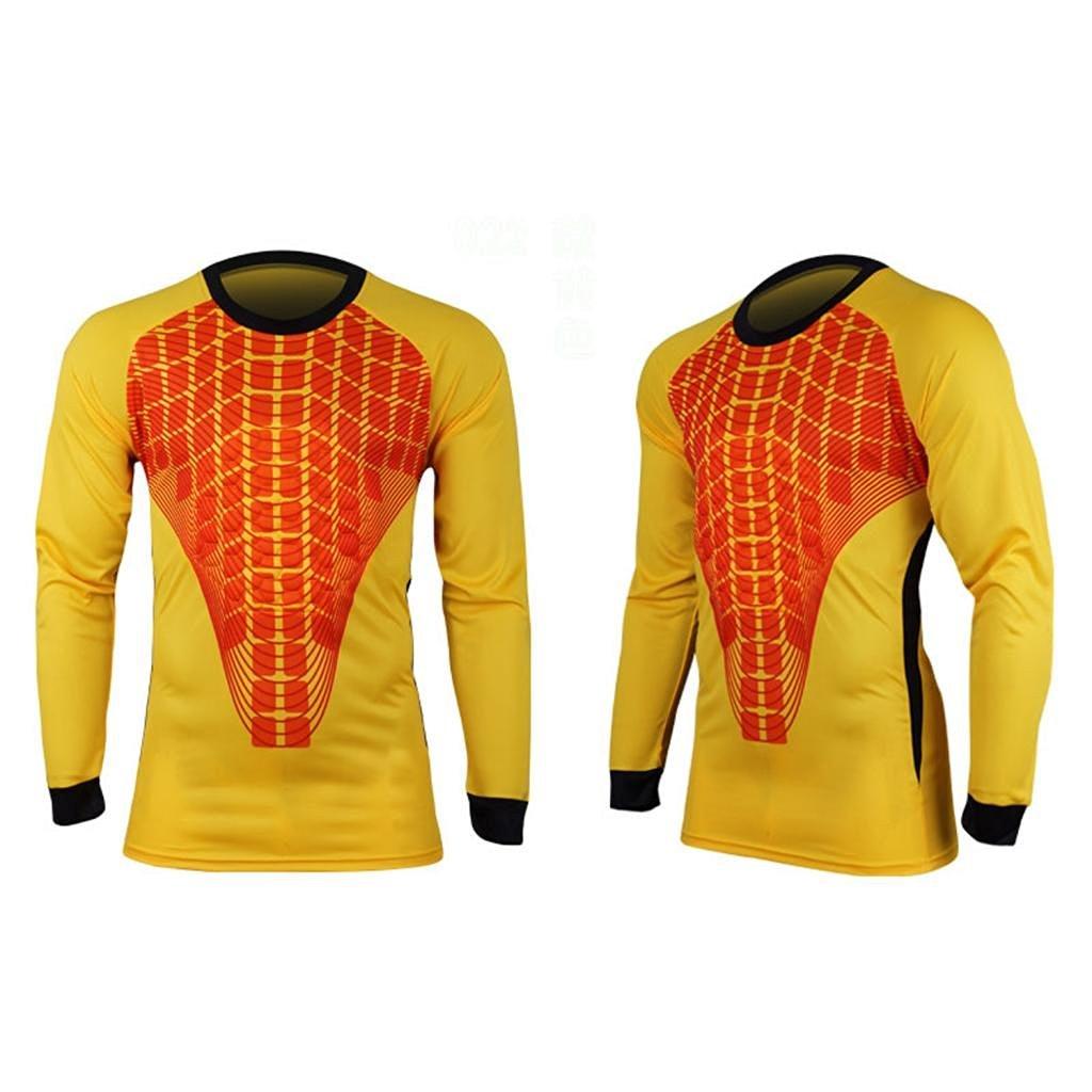 2a4cba11439 Get Quotations · COOLOMG Men Pants M-3XL Soccer Keeper Football Goalkeeper  Goalie Foam Padded Jersey Shirt
