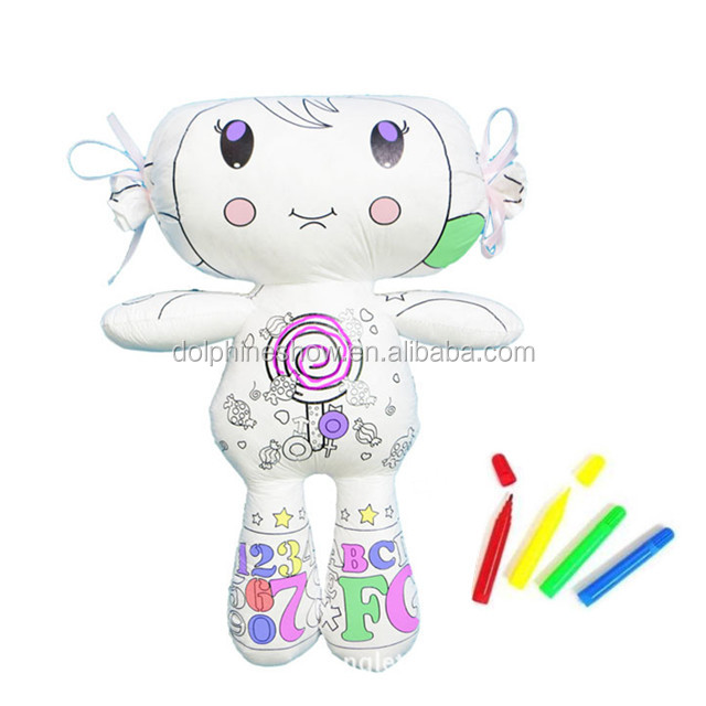 kids educational washable DIY coloring painting drawing tyvek doll toy