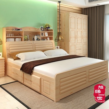 Beautiful Latest Solid Wood Double Bed Designs With Storage Box Frame For Home And  Hotel Use