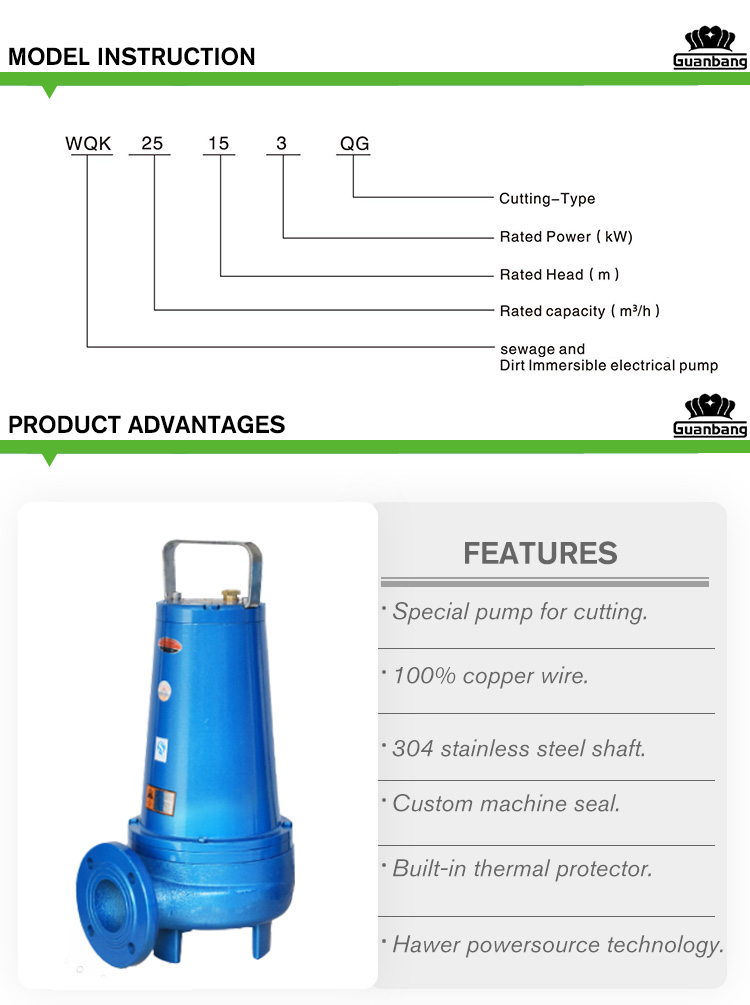 7.5hp 15hp Submersible Sewage Cutting Pump With Cutter