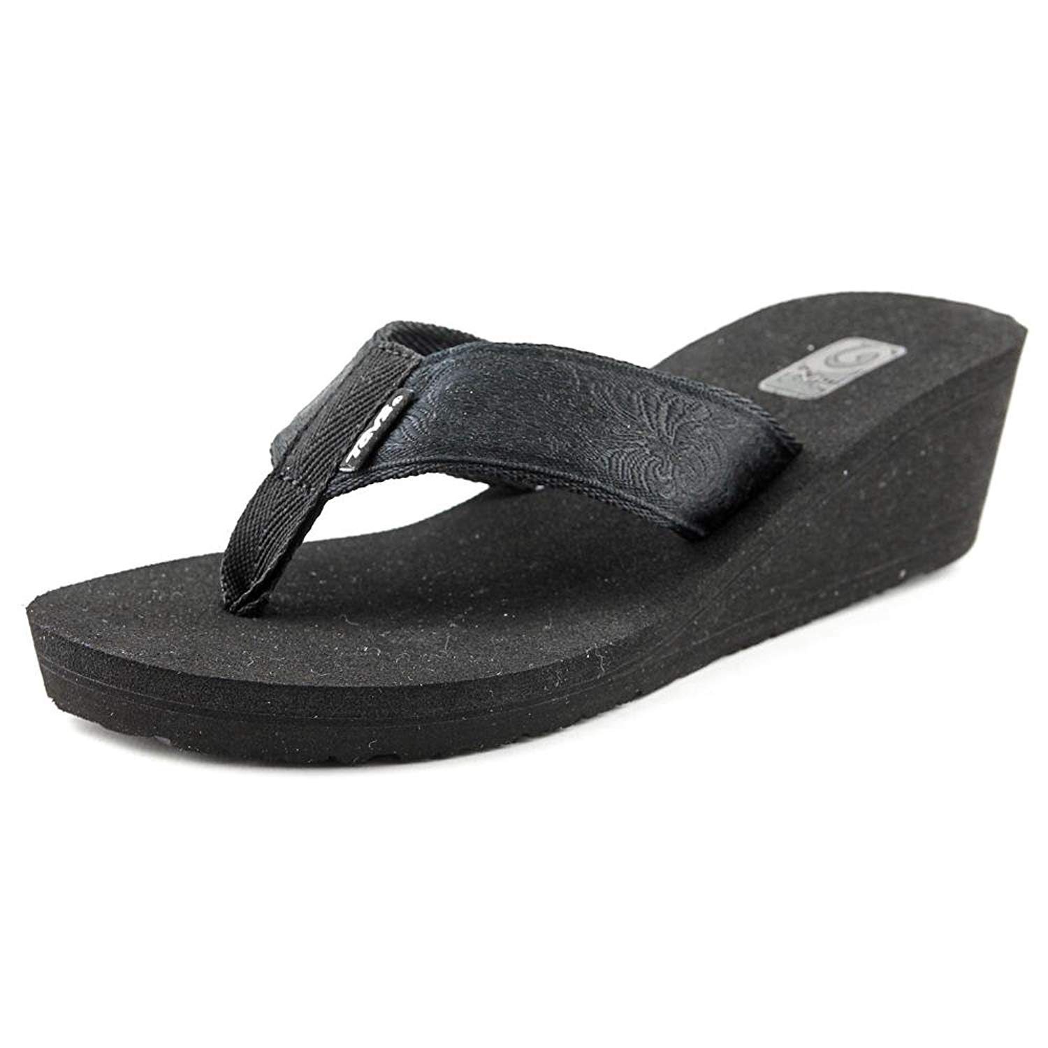 16bc54da2 Get Quotations · Teva Mush Mandalyn Wedge 2 Women US 10 Black Flip Flop  Sandal