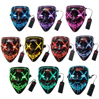 Halloween Cosplay Costume LED  El Wire Mask  Light Up Scary Purge Mask