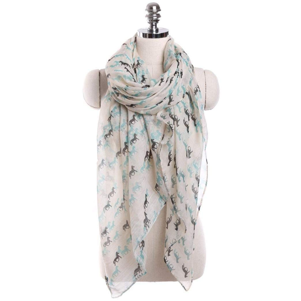 WensLTD Women Ladies Horse Print Pattern Lace Long Scarf Warm Wrap Shawl