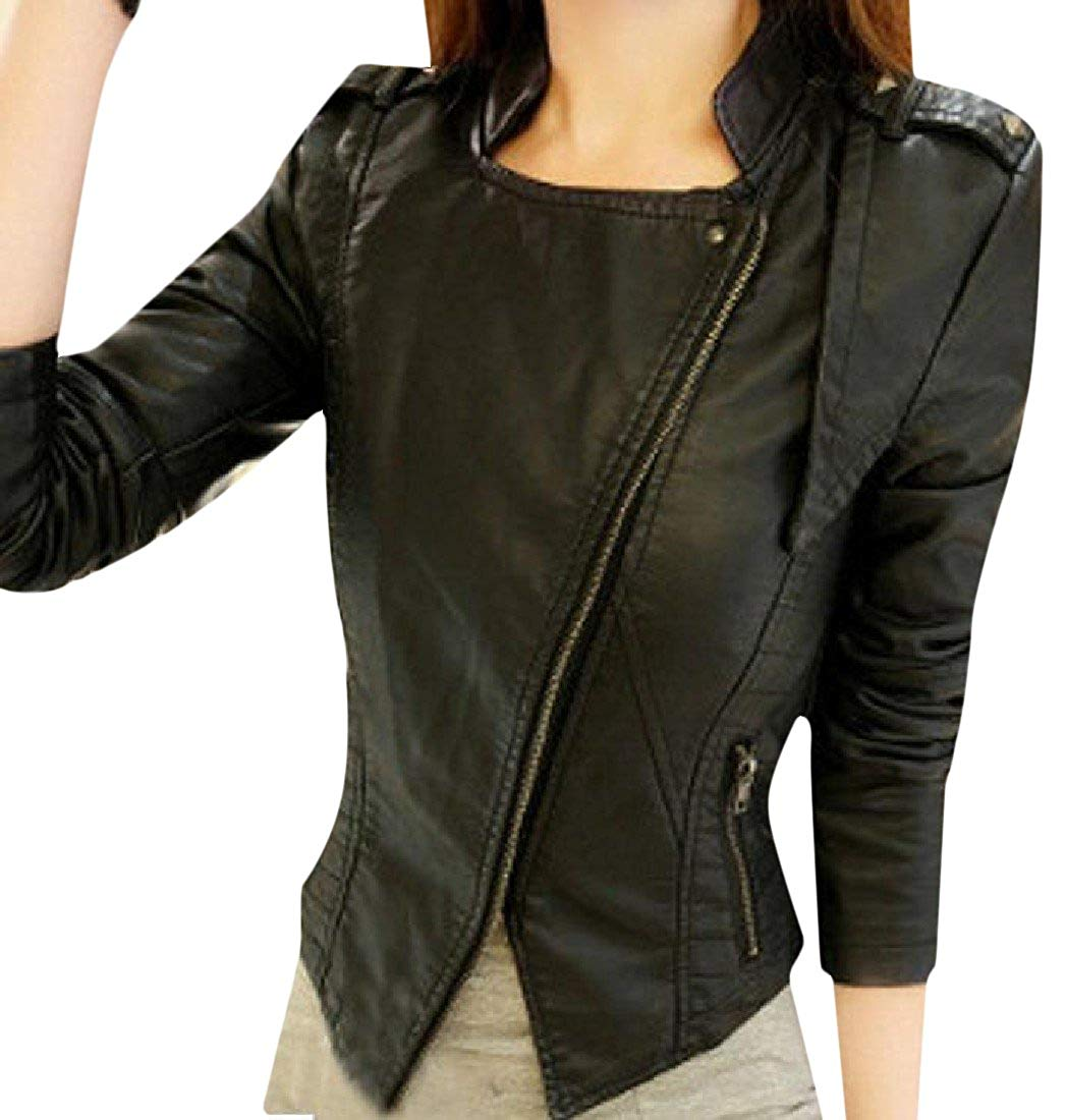 Zimaes-Women Stand-up Collar Fit Zipper PU Leather Outwear Jacket
