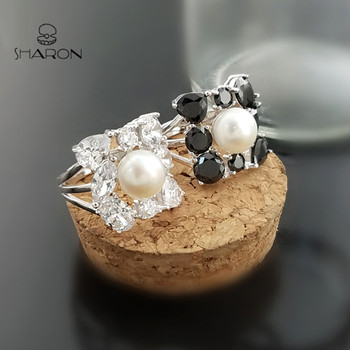 Antique Jewelry 5925 Sterling Silver Adjustable CZ Pearl Ring Settings without Stones