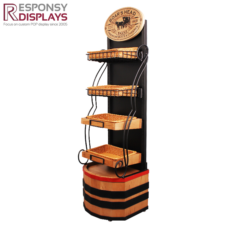 beautiful design metal and wood floor standing wine display with baskets