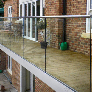 Prima aluminum decking glass balustrade U channel glass railings for balcony
