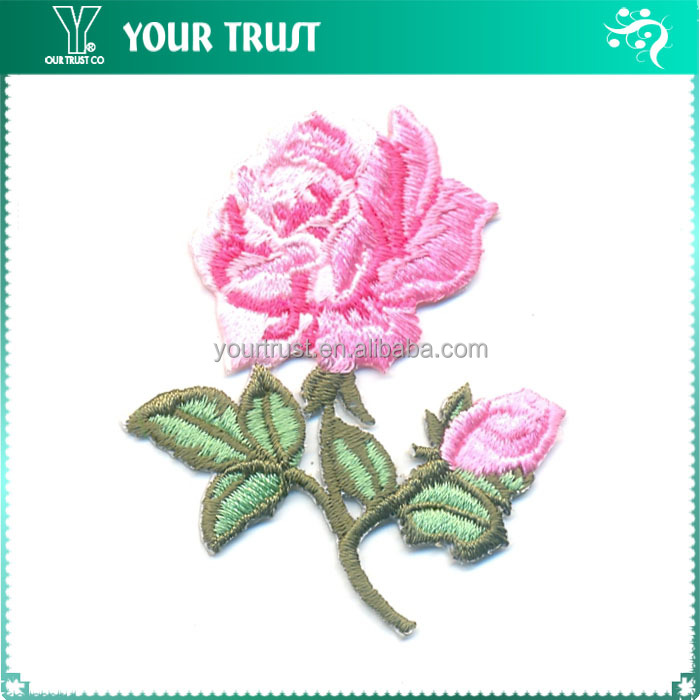 Baby Pink Rose Full Emroidered Badge Iron-on Embroidery Patch