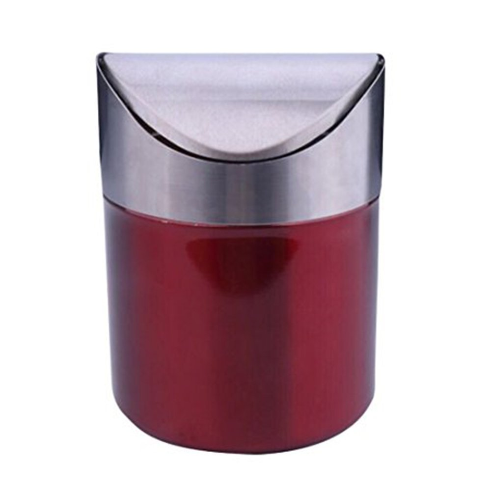 Get Quotations Stainless Steel Sundarling Mini Countertop Trash Bin 1 5l Car Dust Swing Lid Kitchen Worktop