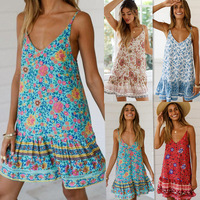 Women Boho Sleeveless Summer Dresses Bandage Bodycon Evening Party Short Mini Dress Hot Sale Ladies Floral Printed Dress