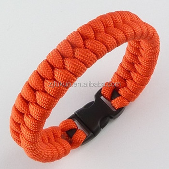 orange parachute rope bracelet, fishtail weave paracord survival bracelet