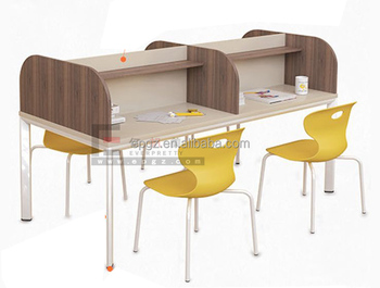 Library Reading Room Wooden Desk Cubicle Partition And