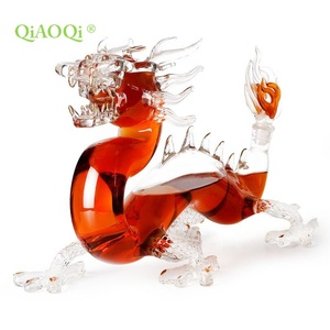 Wholesale 1000ml animal shaped empty clear borosilicate dragon shape glass wine liquor bottle dragon decanter